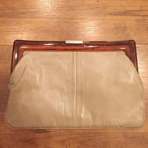 Vintage Mary Ann Rosenfeld Taupe Clutch 1970s